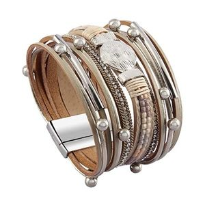 Jewelry - Jeilwiy Leather Wrap Bracelet Braided Cuff Bangle